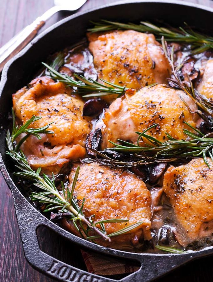 Oven Roasted Rosemary Chicken Thighs with Mushrooms