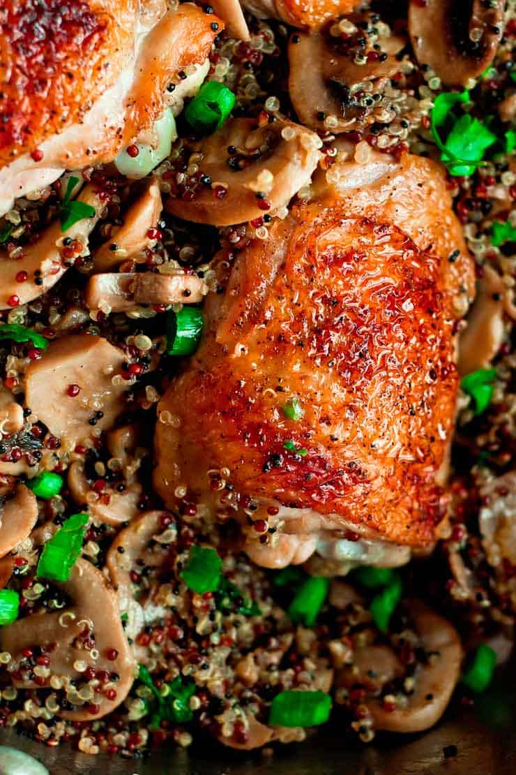 Chicken quinoa with mushrooms