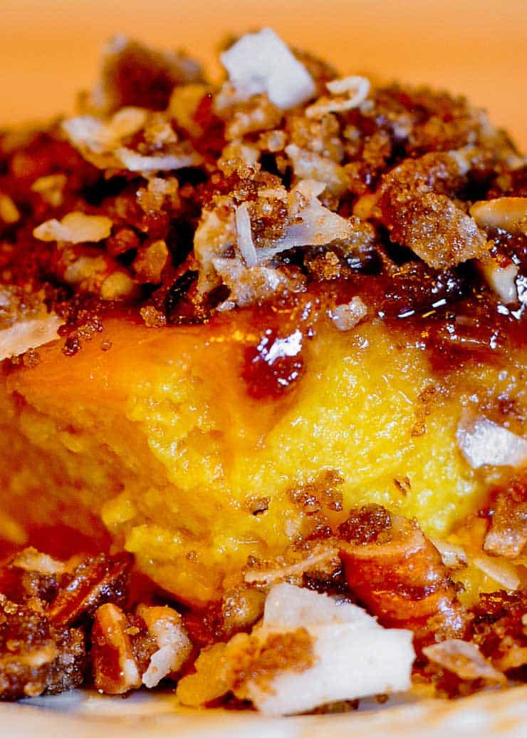 Pumpkin Soufflé with Pecans and Coconut Chips