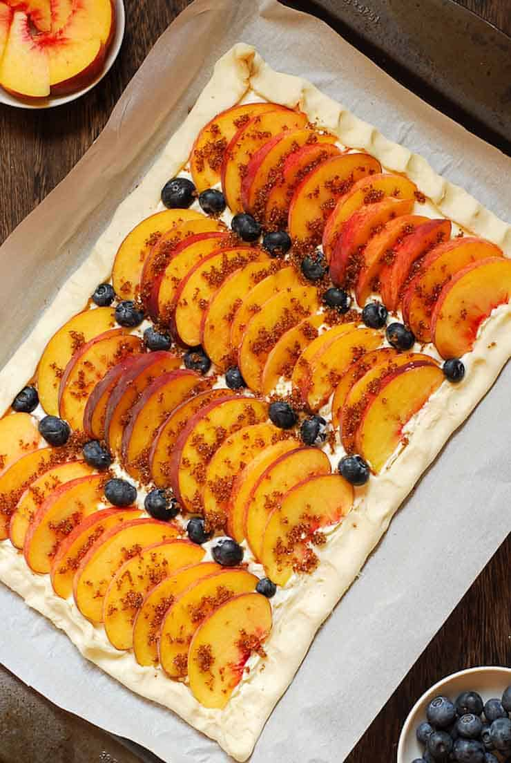 Easy Cream Cheese Puff Pastry with Peaches and Blueberries