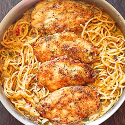 Chicken and Pasta in Creamy White Wine Parmesan Sauce