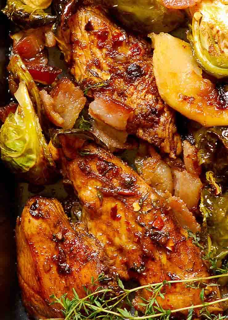 Sheet Pan Chicken with Brussels Sprouts and Bacon