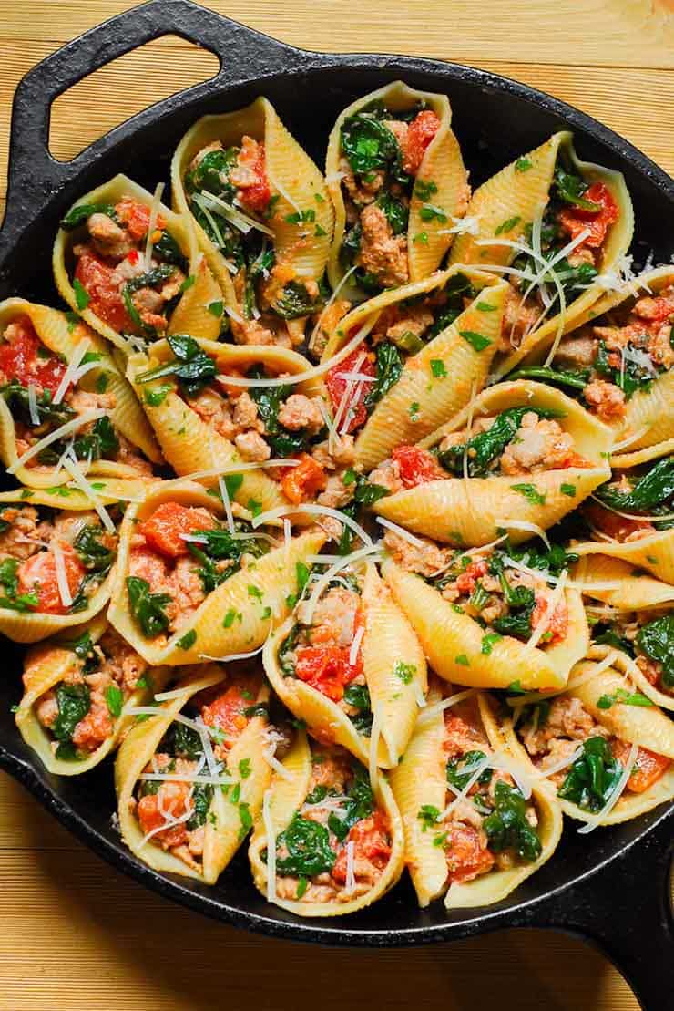 Ricotta Stuffed Pasta Shells with Sausage and Spinach