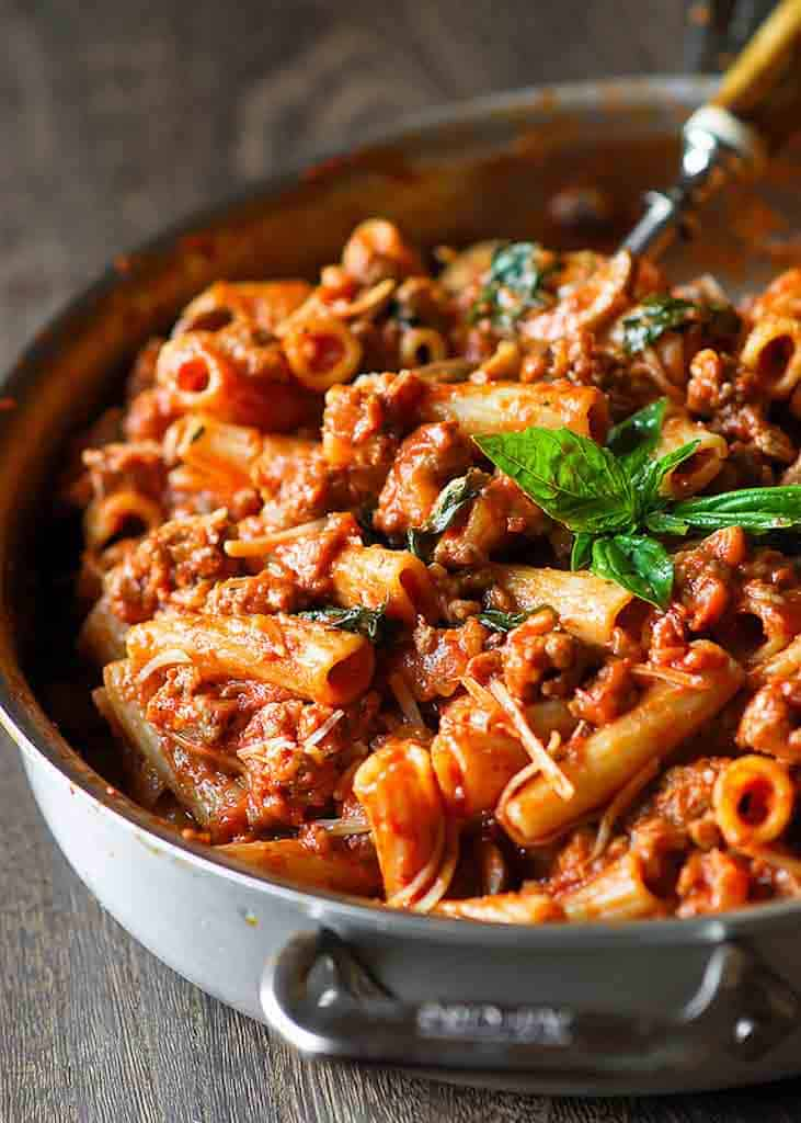Bolognese Pasta in Vodka Sauce with Sausage