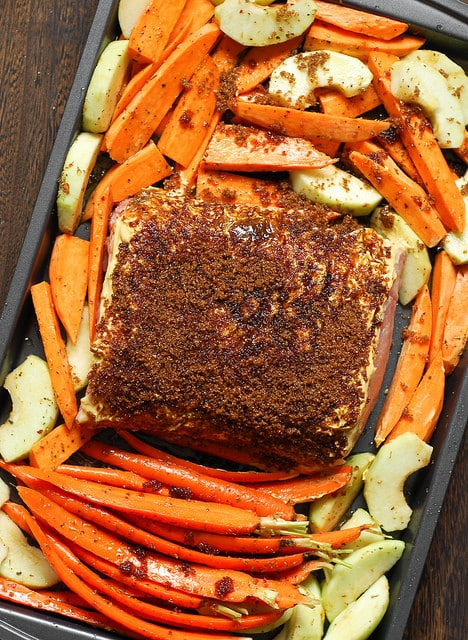 Brown Sugar Dijon Glazed Pork Loin with Carrots and Sweet Potatoes