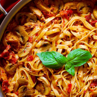 Chicken Fettuccine with Sun-Dried Tomatoes and Mushrooms