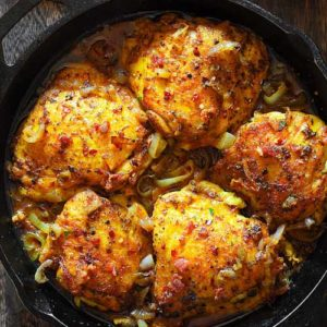 Pan Seared Chicken Thighs in pan sauce