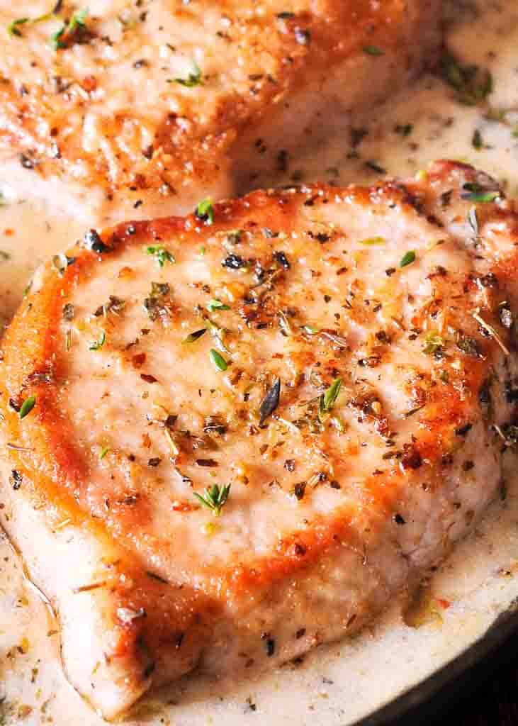 Best Pork Chops in Creamy Herb & Wine Sauce