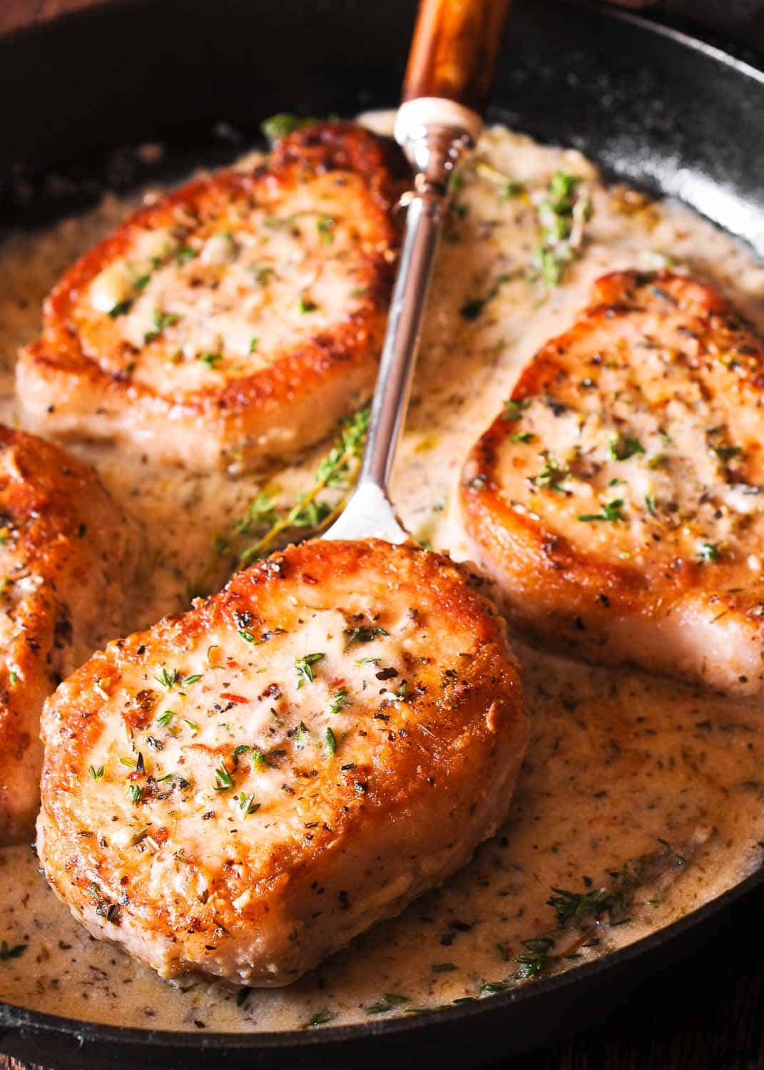 Boneless Pork Chops in Creamy Wine Sauce