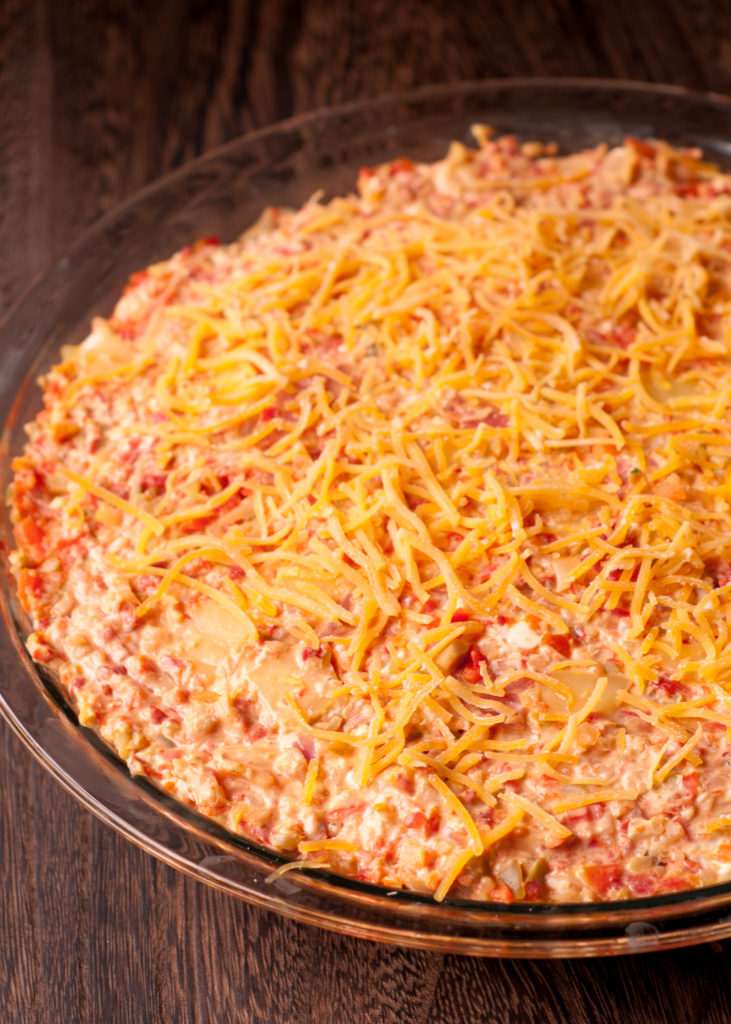 Warm And Cheesy Muffuletta Dip What S In The Pan