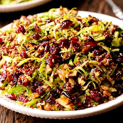 Warm Quinoa and Brussels Sprout Salad with Cranberries and Pecans