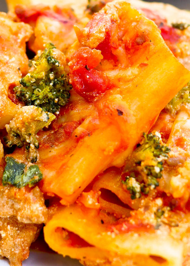 Baked Ziti with Sausage, Broccoli and Spinach