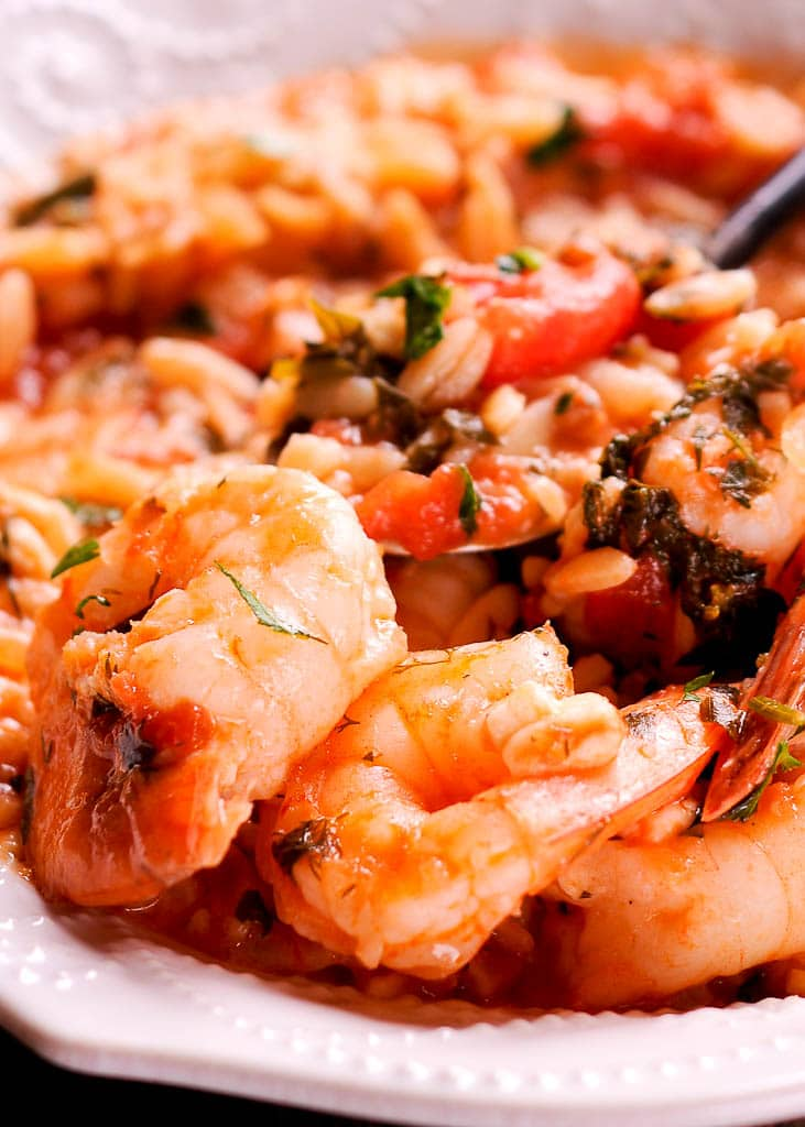Instant Pot Orzo with Shrimp, Tomatoes and Feta