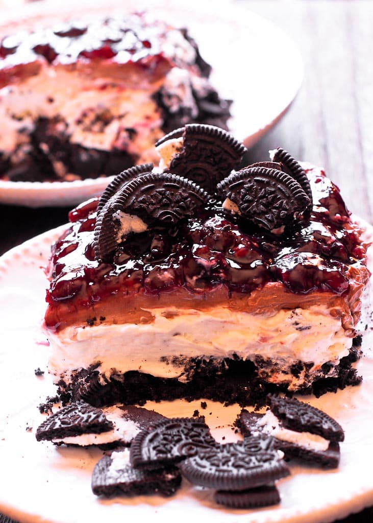 No Bake Black Forest Oreo Cheesecake