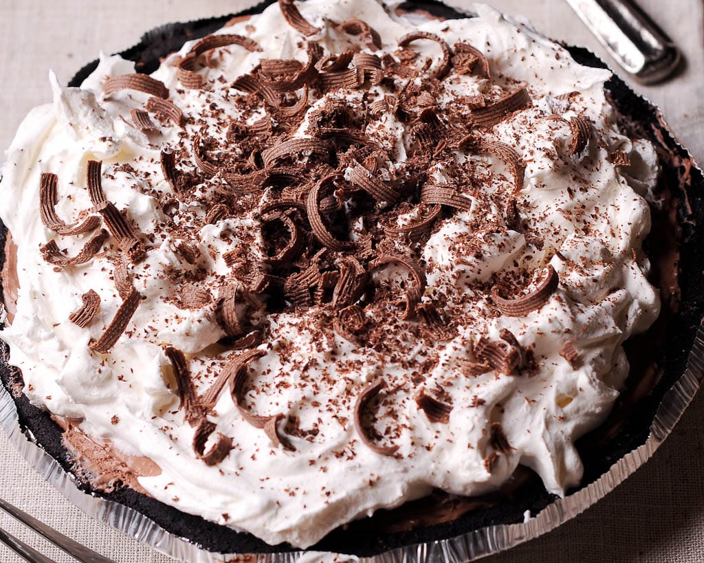 No Bake Double Chocolate Cream Pie with Oreo Crust