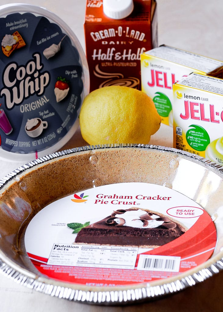 Ingredients for Easy No Bake Lemon Cream Pie