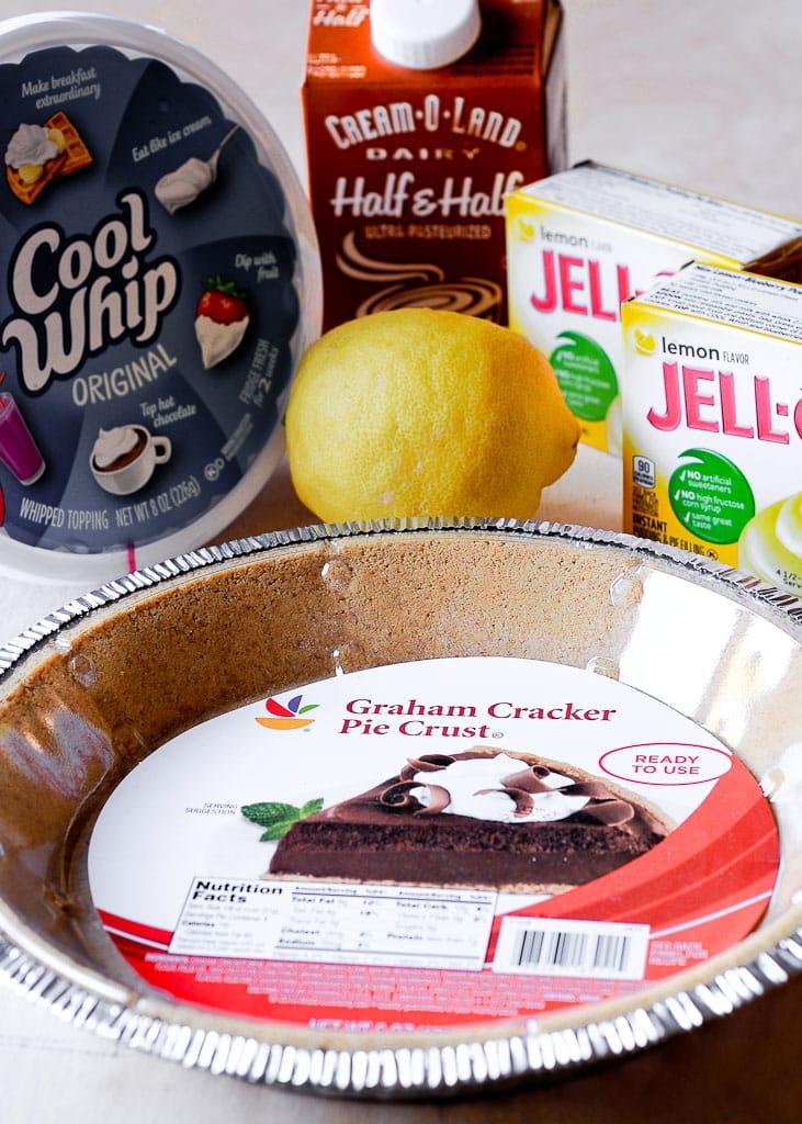 Ingredients for Easy No Bake Lemon Cream Pie