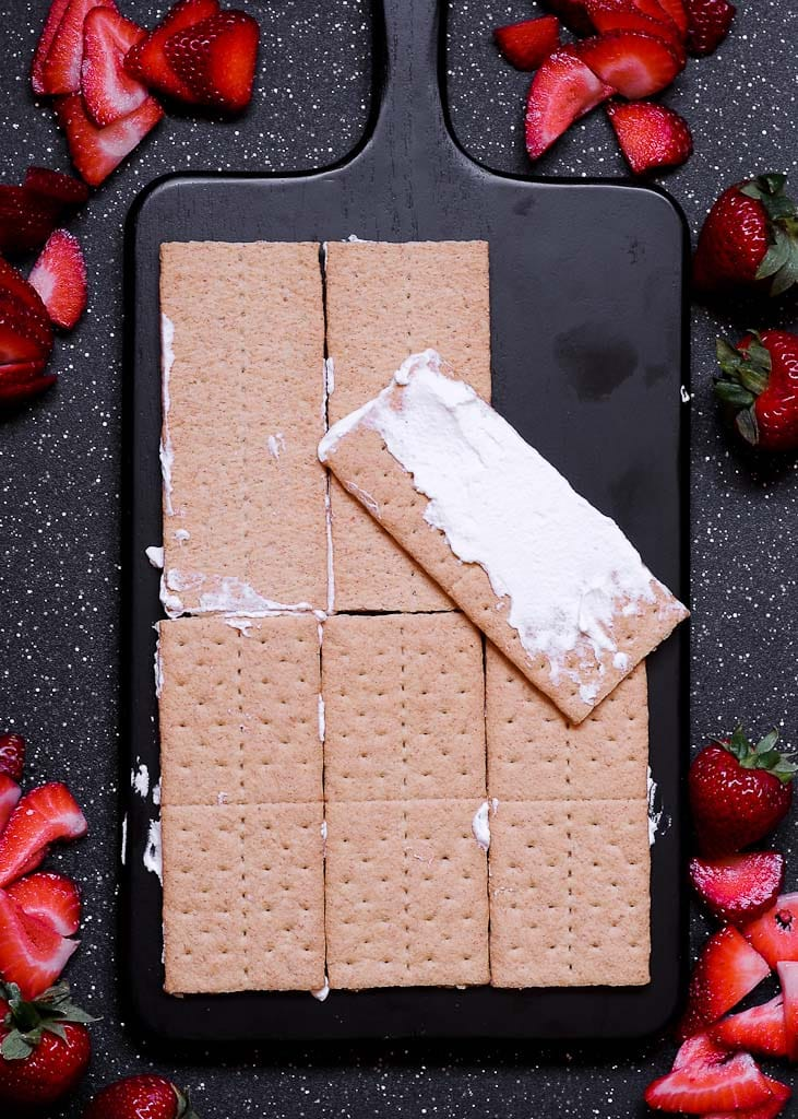 No Bake Strawberry Cream Icebox Cake with Graham Crackers