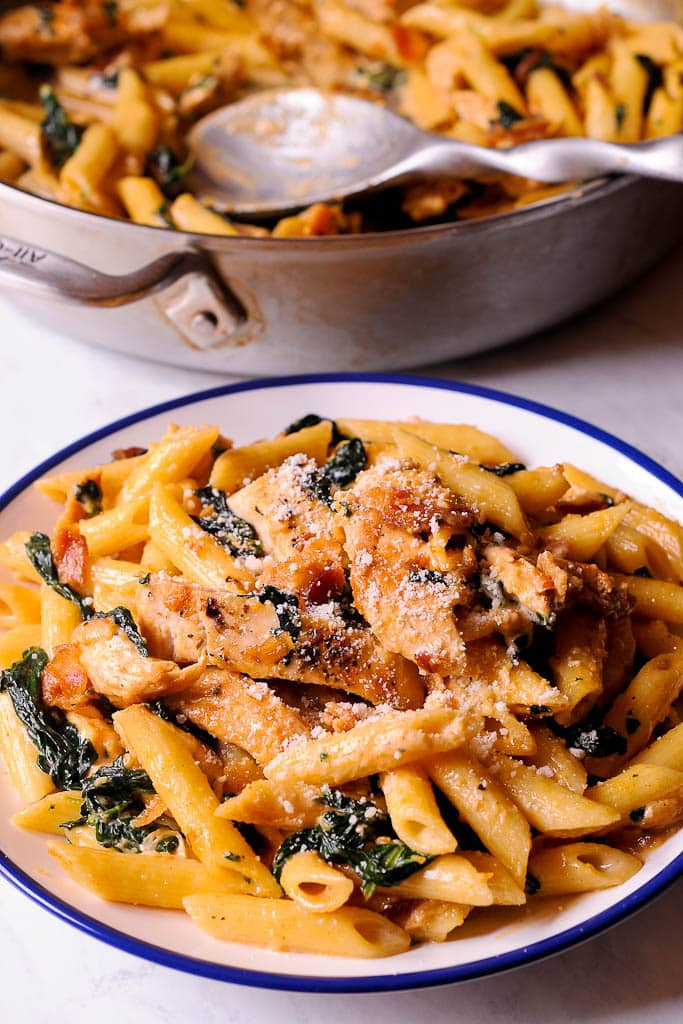 Chicken Spinach and Bacon Alfredo Pasta