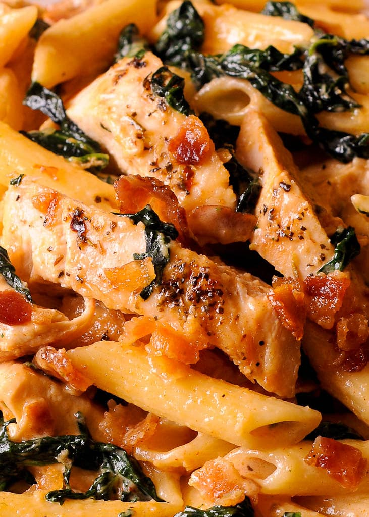 Chicken Spinach and Bacon Alfredo Pasta