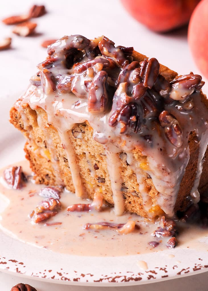 Southern Peach Bread with Pecan Praline Topping