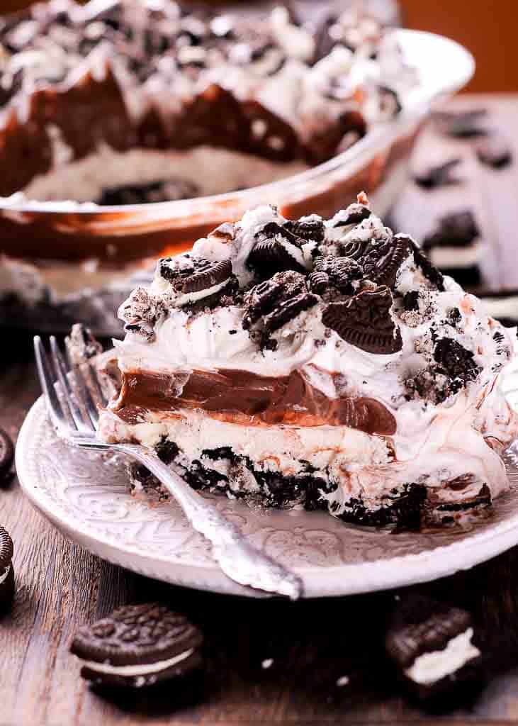 No Bake Oreo Dessert with Cream Cheese, Cool Whip and Chocolate Pudding