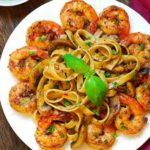 Pesto Shrimp Fettuccine in White Wine Sauce