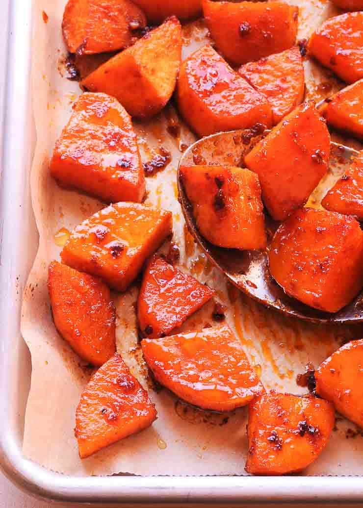 Spicy Maple Glazed Roasted Sweet Potatoes