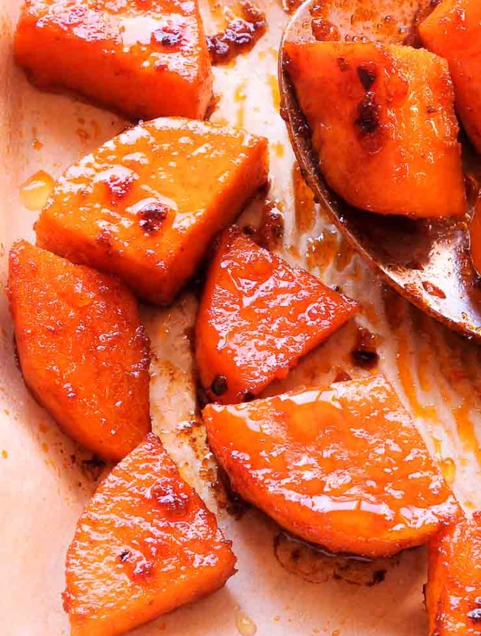 Roasted Sweet Potatoes on a cooking sheet