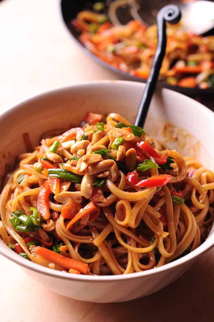 easy thai noodles with peanut sauce  what's in the pan