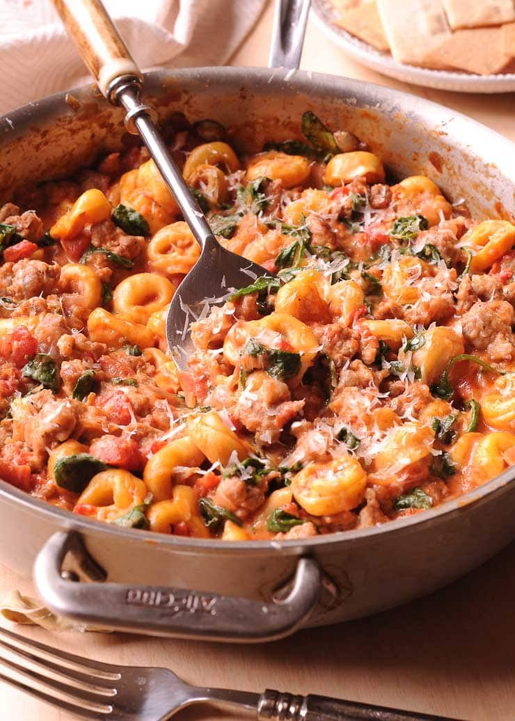 Spinach, Sausage and Tortellini in Sauce