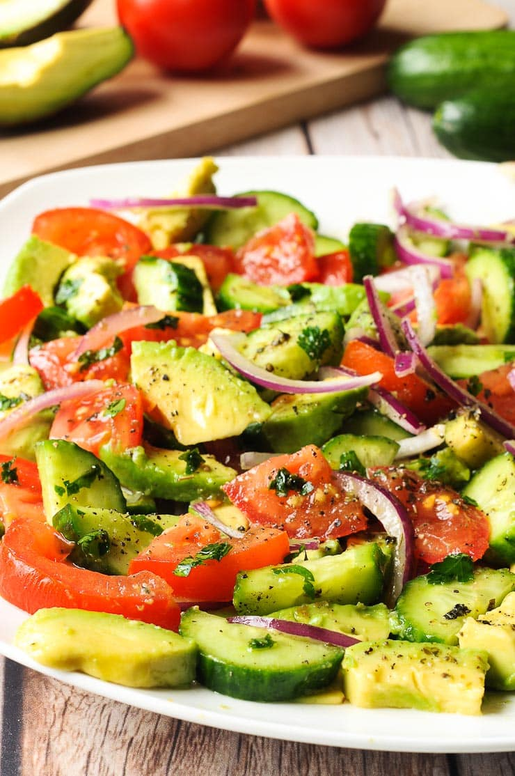 Cucumber Tomato Salad with Avocado