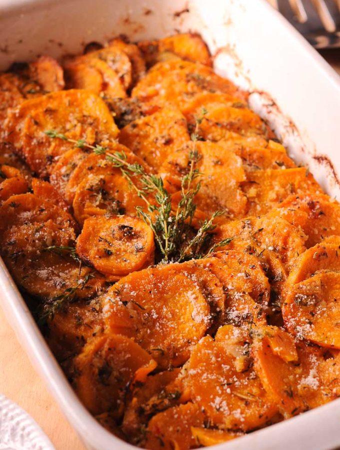 Garlic Parmesan Sweet Potatoes