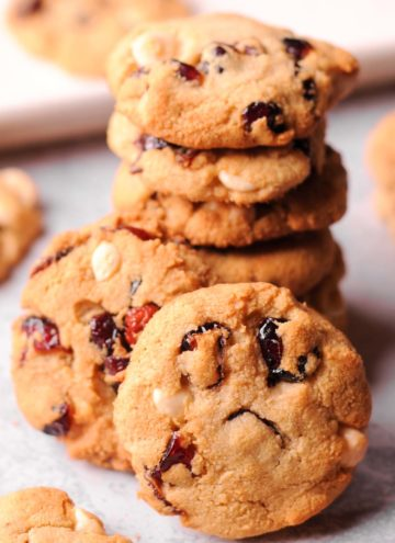 White Chocolate Cranberry Cookies on baking sheet